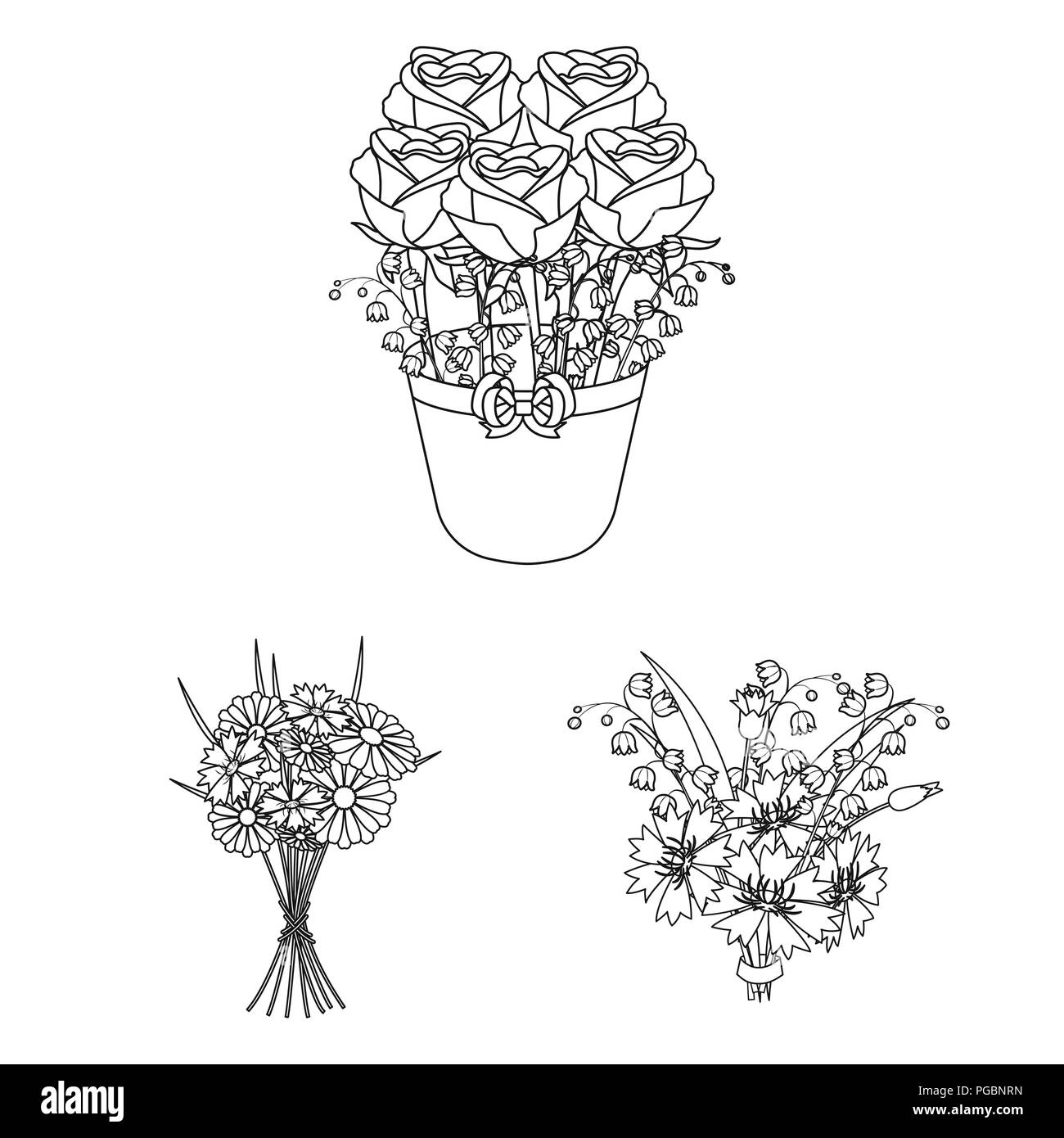 A bouquet of fresh flowers outline icons in set collection for a bouquet of fresh flowers outline icons in set collection for design various bouquets vector symbol stock illustration izmirmasajfo