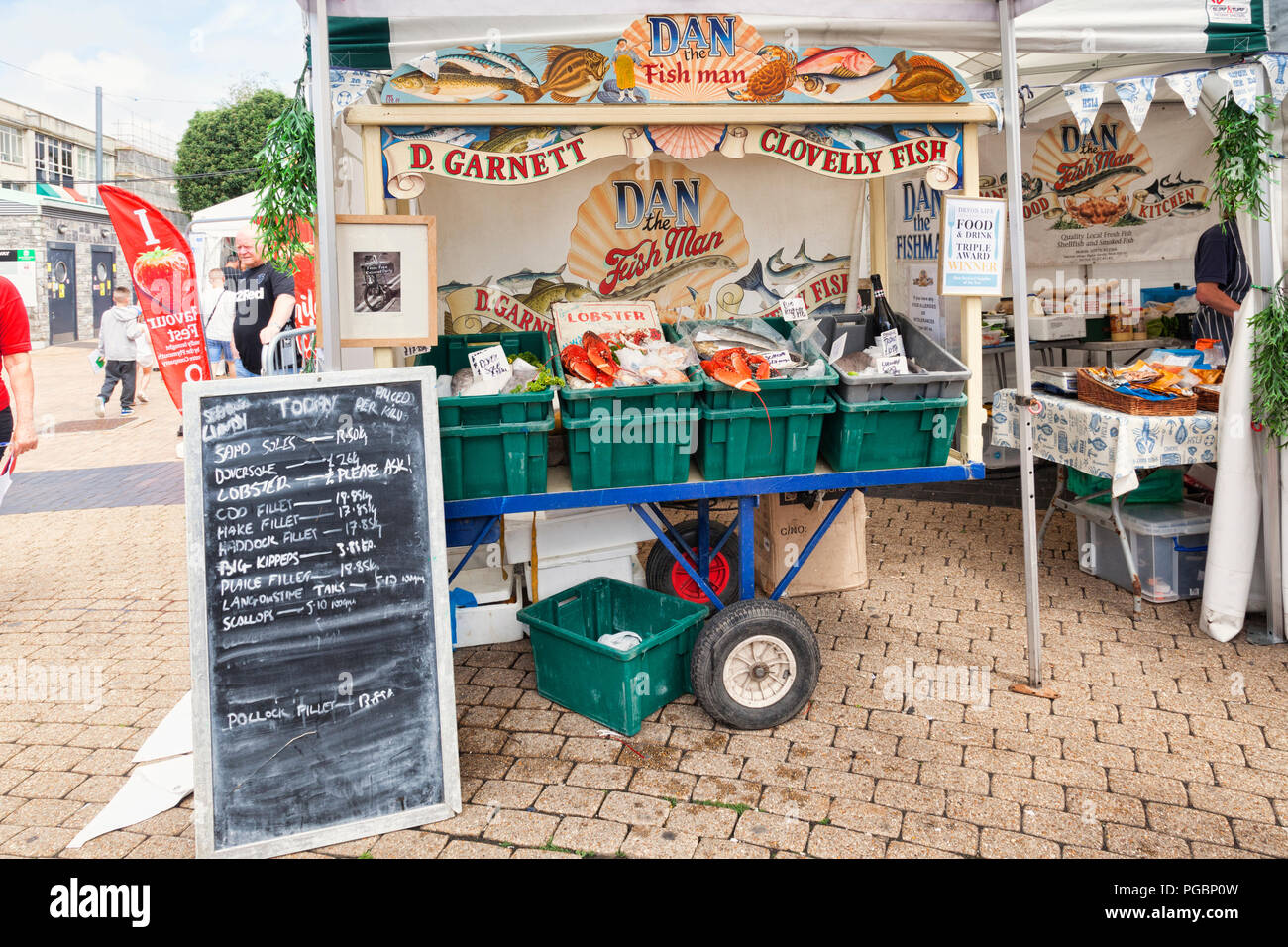 2 June 2018: Plymouth, Devon, UK - A fish stall at Flavour Fest, Plymouth, Devon, UK - Stock Image