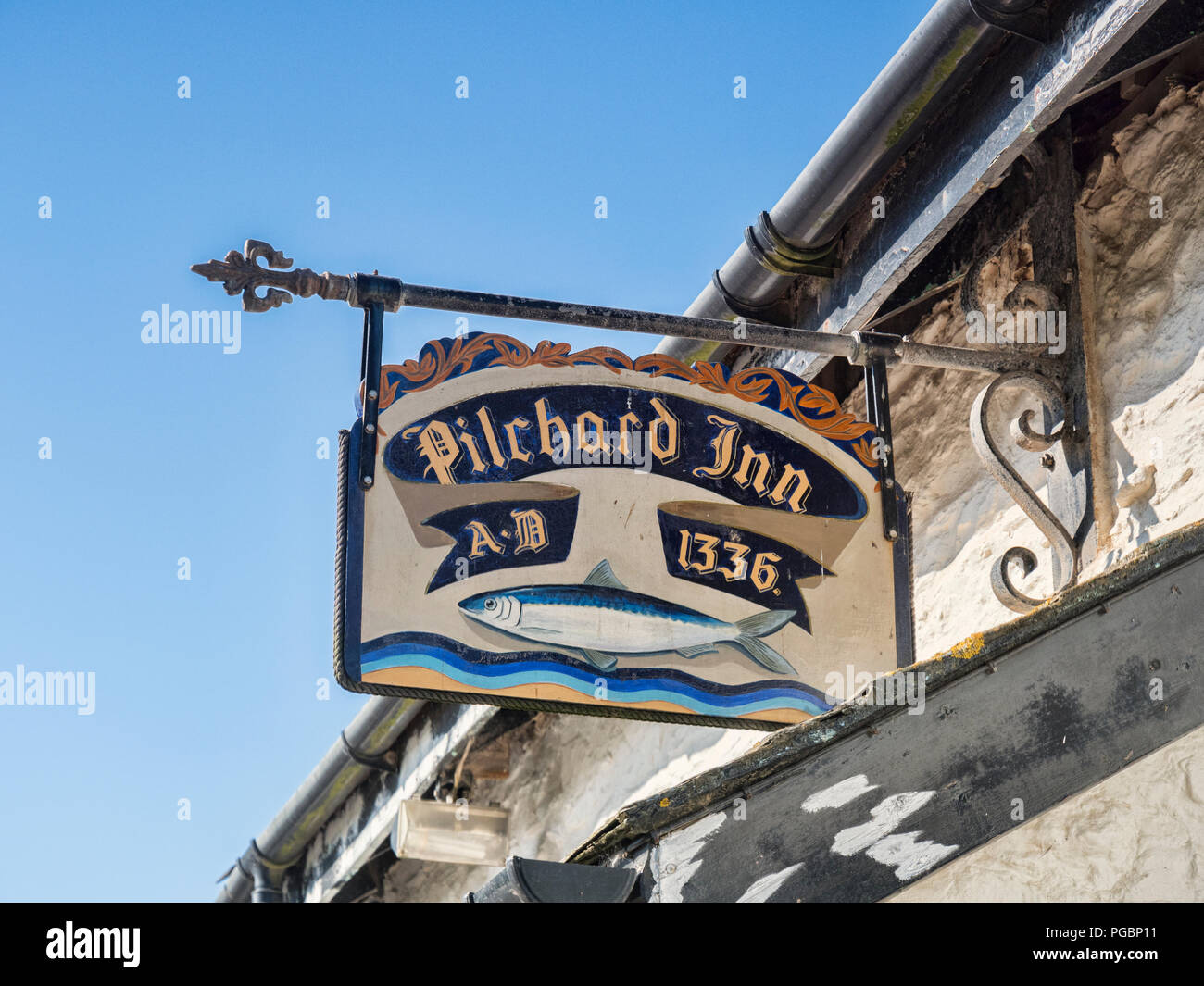 3 June 2018: Burgh Island, Bigbury on Sea, Devon, UK - The sign of the Pilchard Inn, established 1336. - Stock Image
