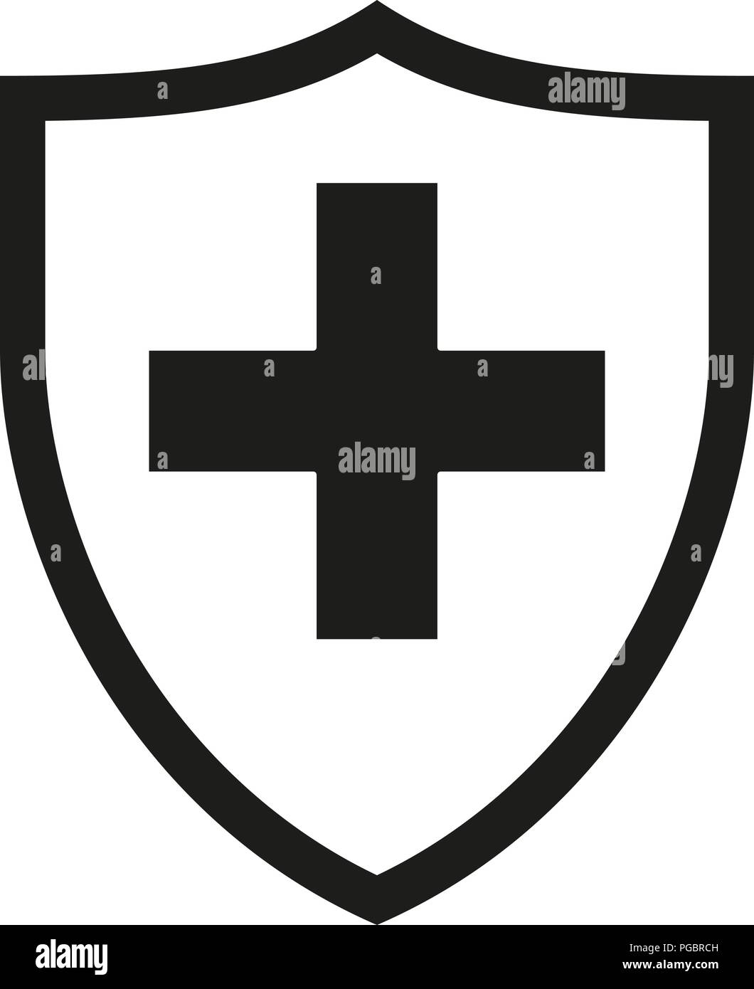 Black and white shield with medical cross silhouette - Stock Vector