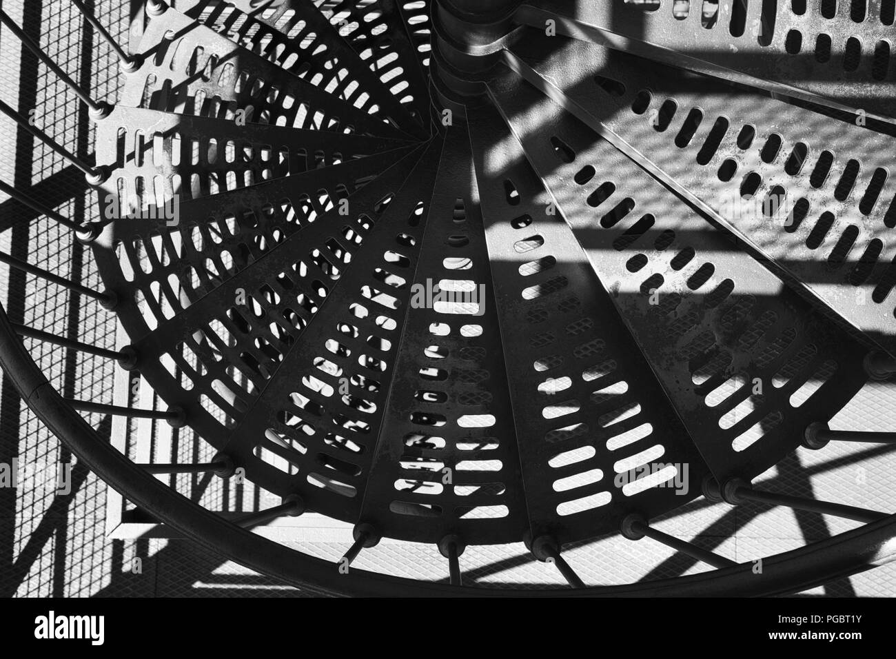 Round steel stairs - Stock Image