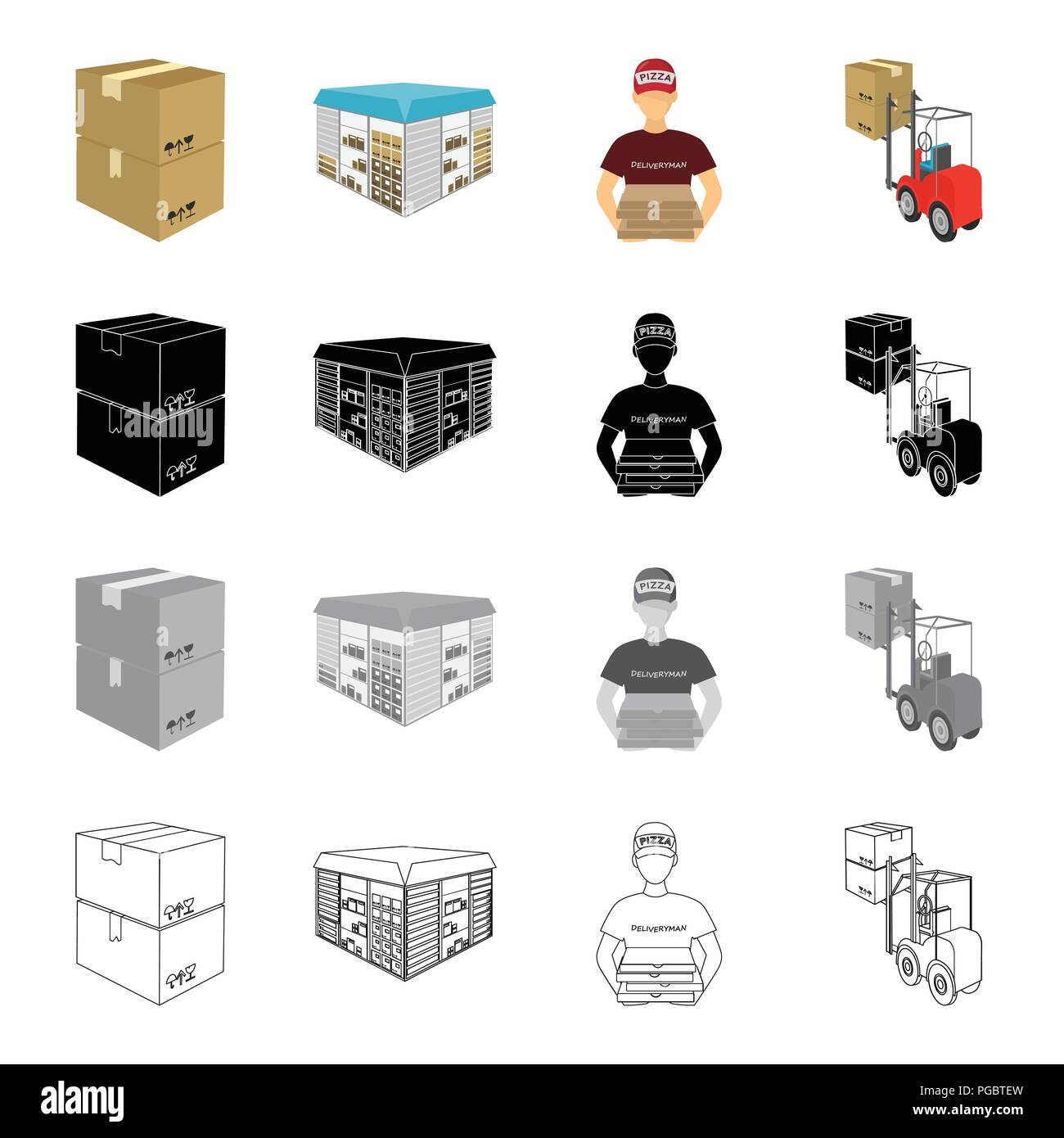A box of goods, a logistics warehouse, a courier for pizza delivery, a forklift. Logistics and delivery set collection icons in cartoon black monochro - Stock Image