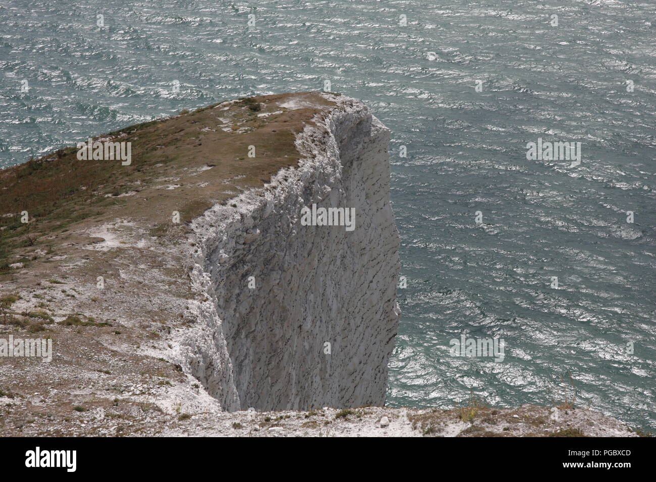 White cliff and shimmering on the  sea isle of wight - Stock Image
