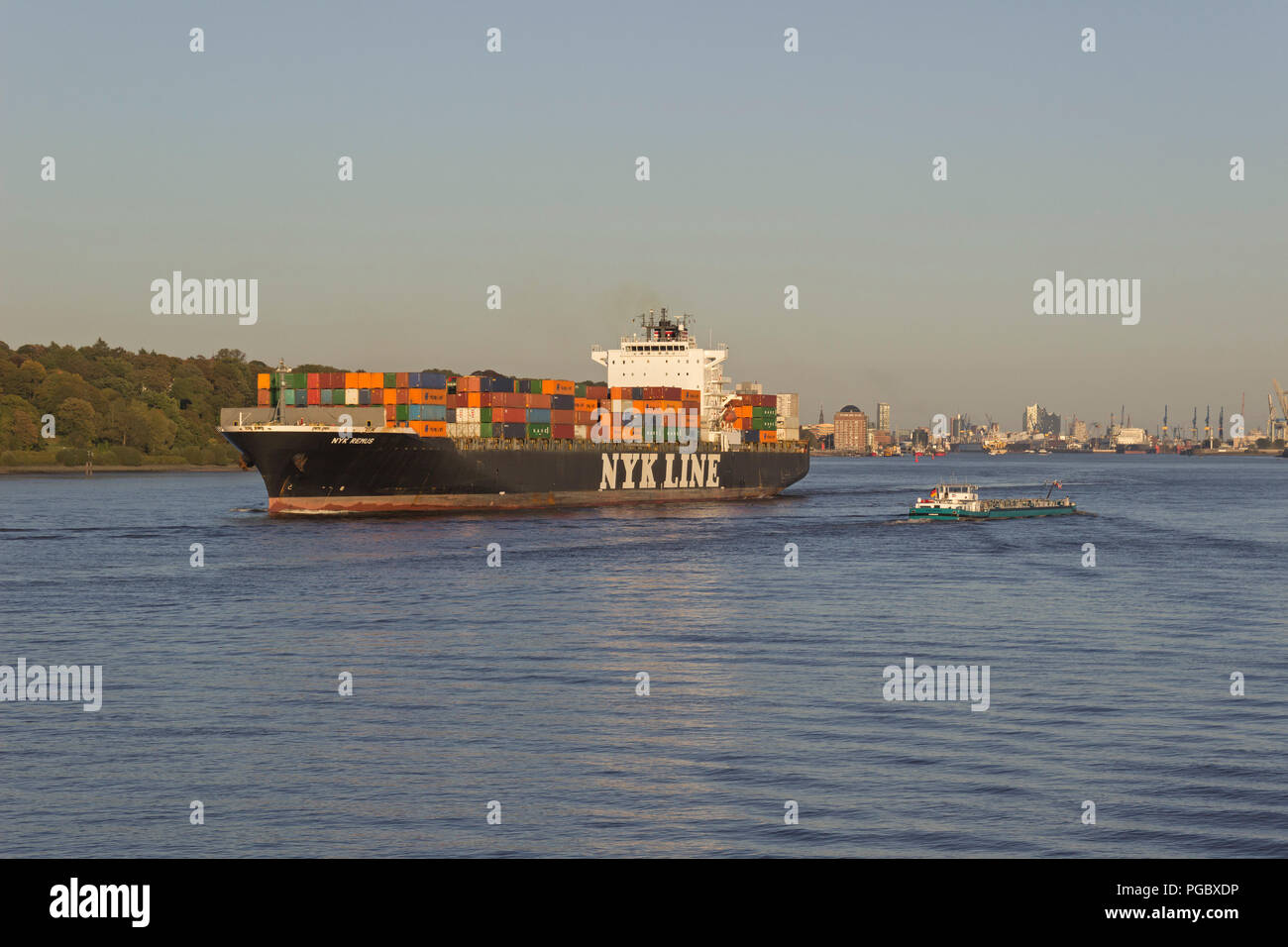 container ship Nyk Remus, Finkenwerder, Hamburg, Germany - Stock Image