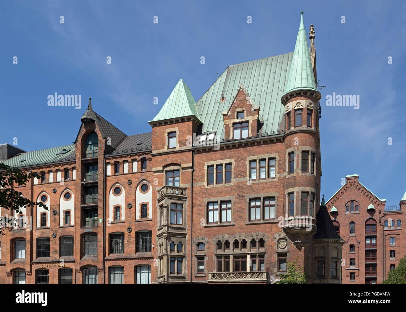 old buildings, Speicherstadt (warehouse district), Hamburg, Germany - Stock Image