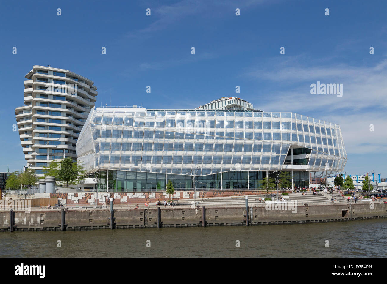 Marco Polo Tower and Unilever House, HafenCity (Harbour City), Hamburg, Germany - Stock Image