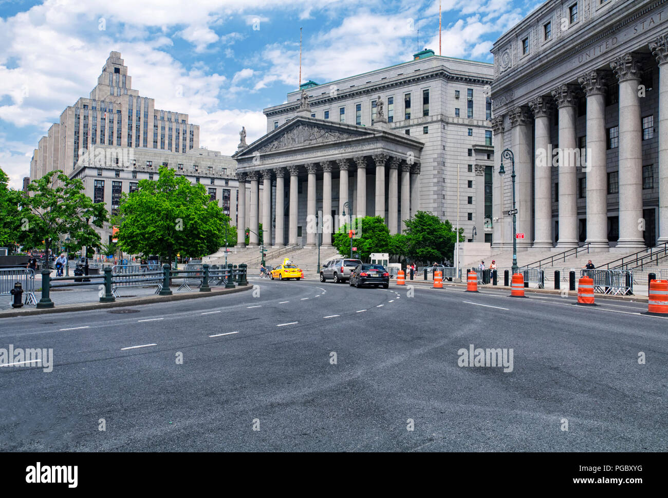 June 10, 2017.  New York City, New York.  The streets in front of the New York Federal and state court buildings in lower Manhattan New York City. - Stock Image