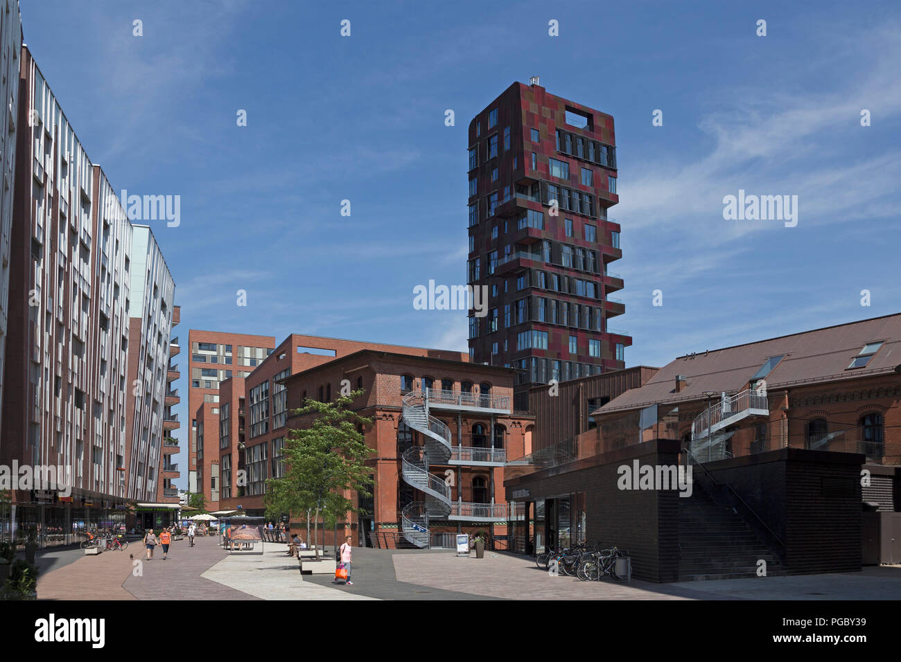 Ueberseeboulevard, HafenCity, HafenCity (Harbour City), Hamburg, Germany - Stock Image