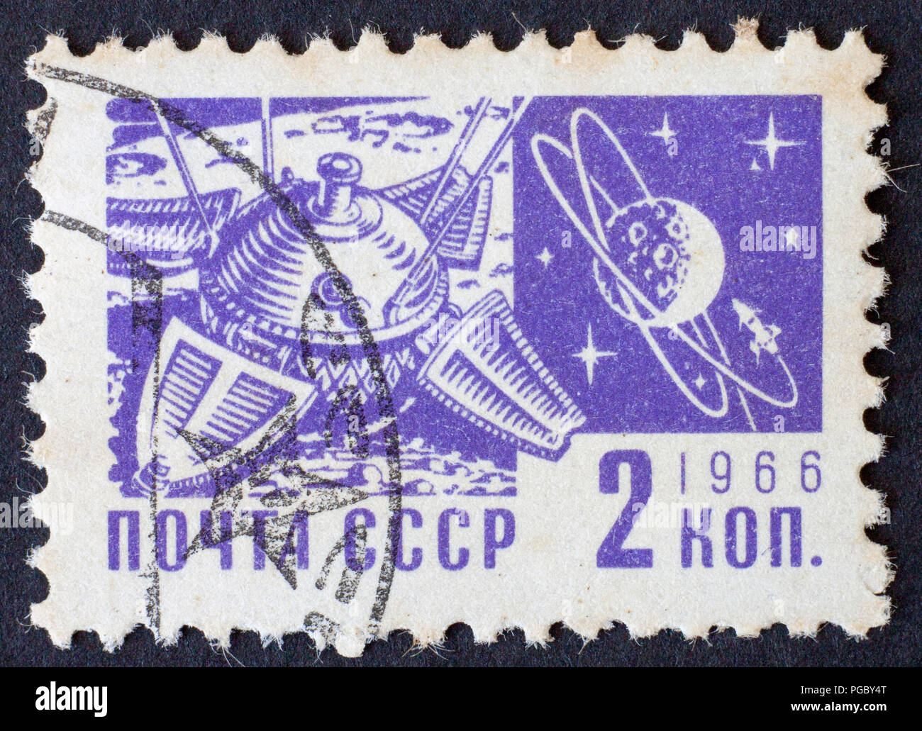 RUSSIA/USSR - CIRCA 1966: space themed post stamp 2 kopek, Moscow 1966 - Stock Image