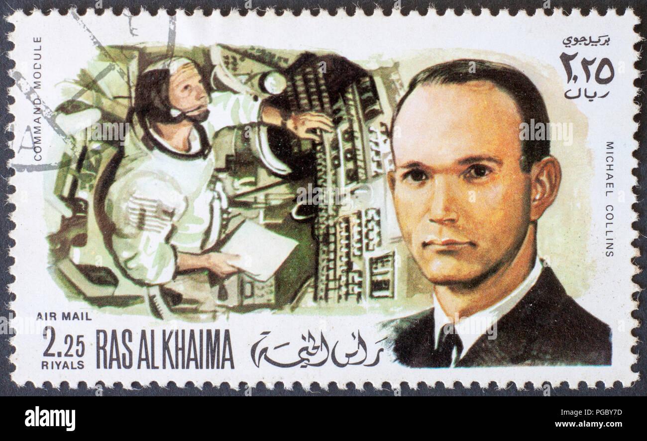 RAS AL KHAIMA - CIRCA 1969: a stamp printed by RAS AL KHAIMA shows Michael collins astronaut, circa 1969 - Stock Image