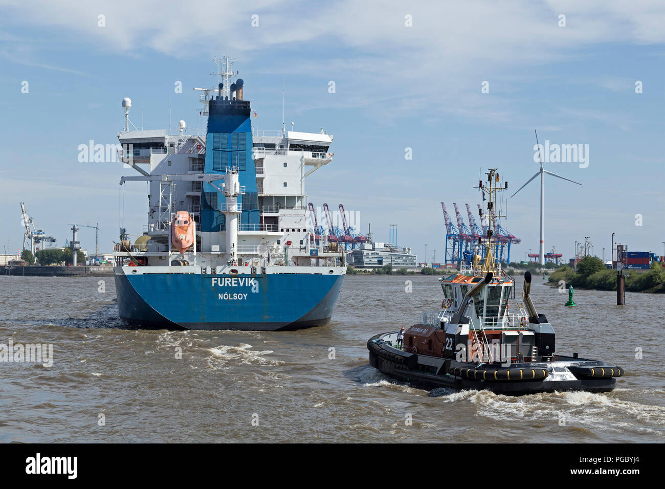 freight ship and tow boat, Harbour, Hamburg, Germany - Stock Image