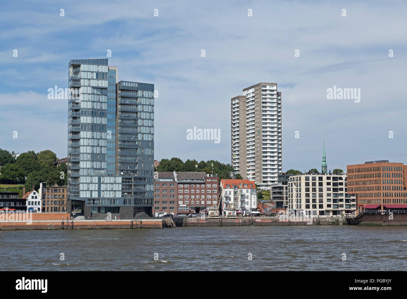 office buildings at the waterfront, River Elbe, Hamburg, Germany - Stock Image