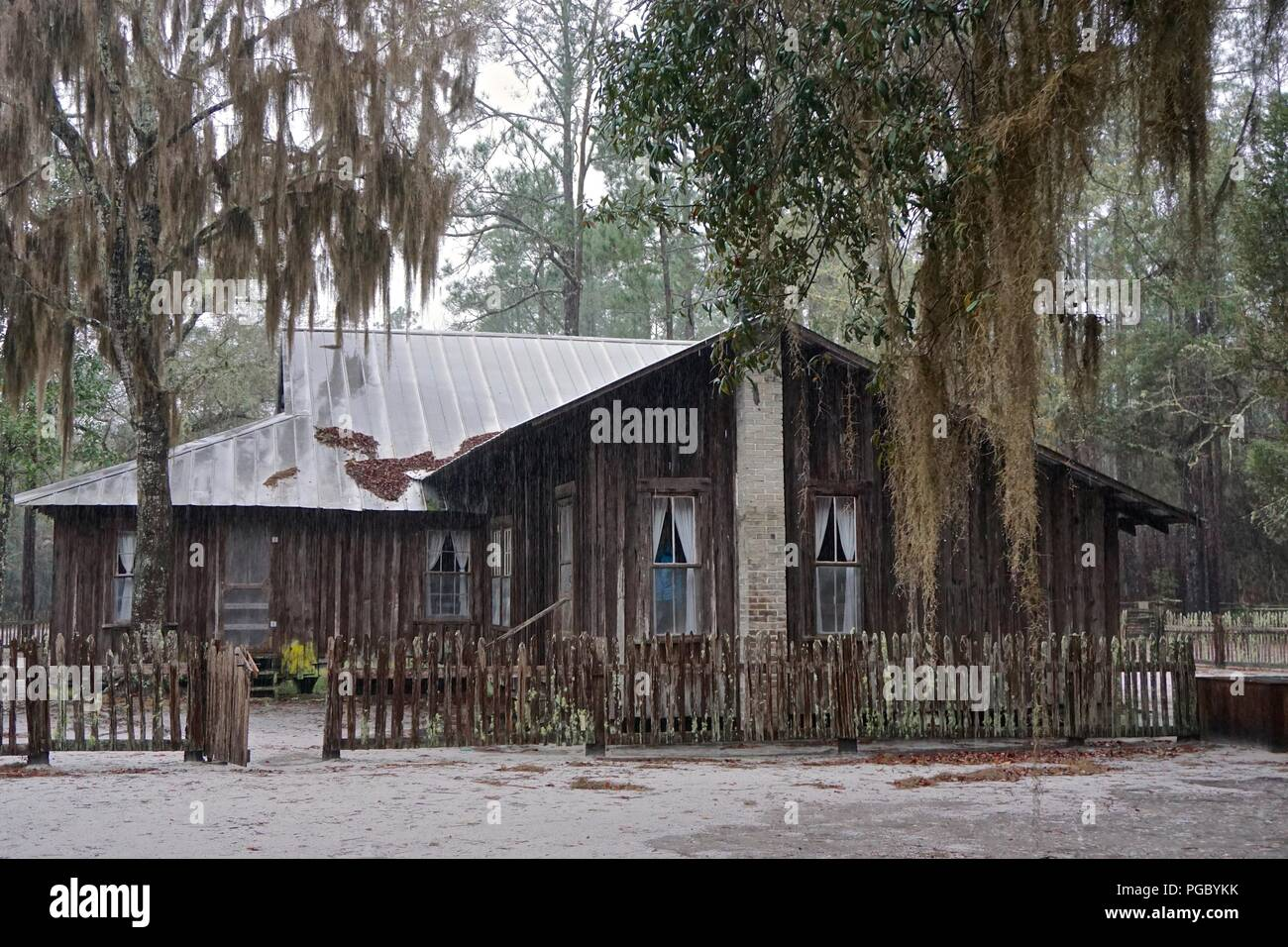 Chesser Island, GA, USA: The abandoned Chesser homestead stands on an island on the eastern edge of the Okefenokee Swamp, a National Wildlife Refuge. - Stock Image