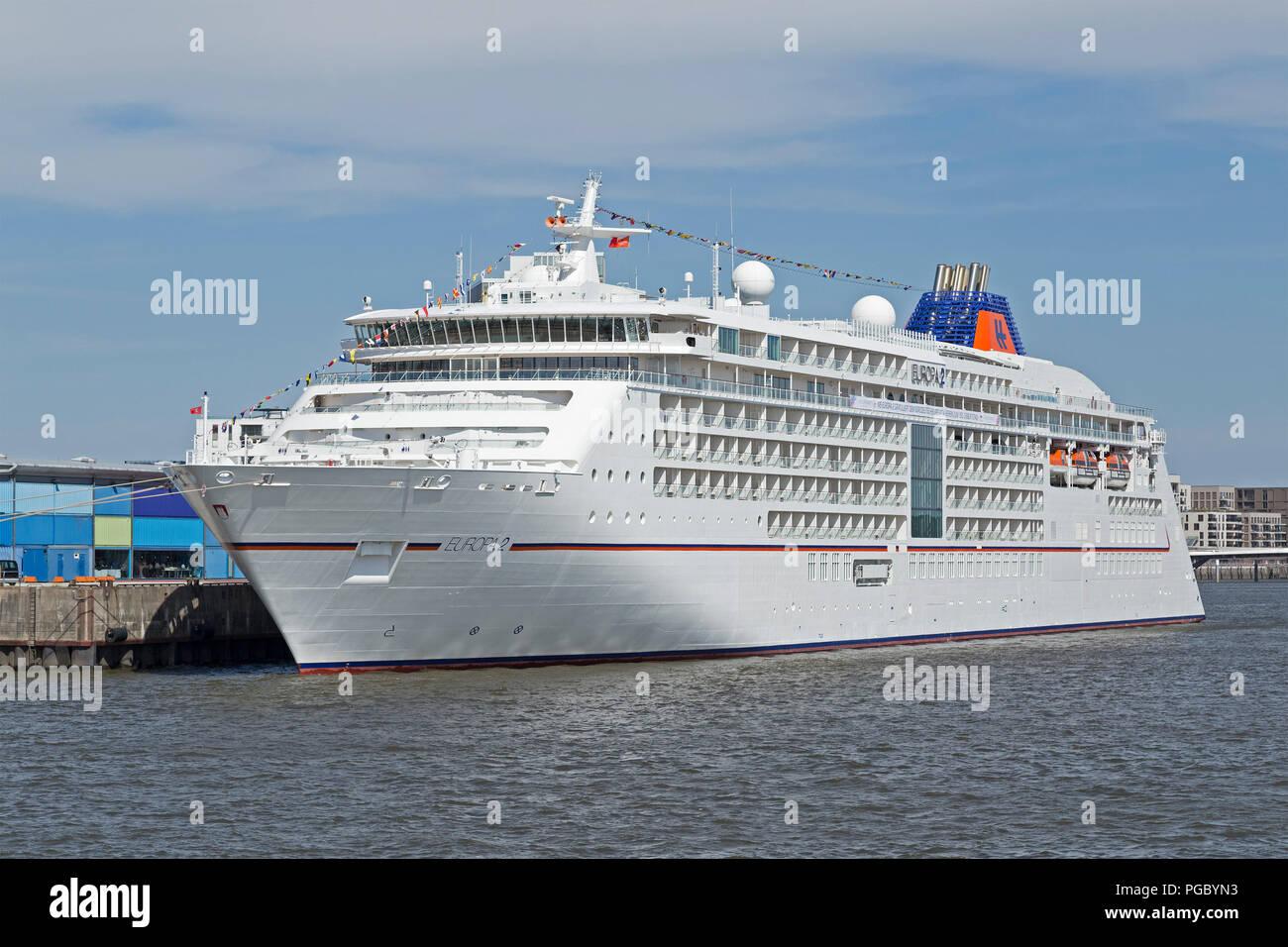 cruise ship Europa 2, HafenCity (Harbour City), Hamburg, Germany - Stock Image