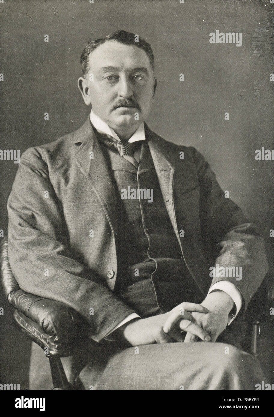 Cecil Rhodes, 7th Prime Minister of the Cape Colony, founded southern African territory of Rhodesia, present day Zimbabwe and Zambia - Stock Image