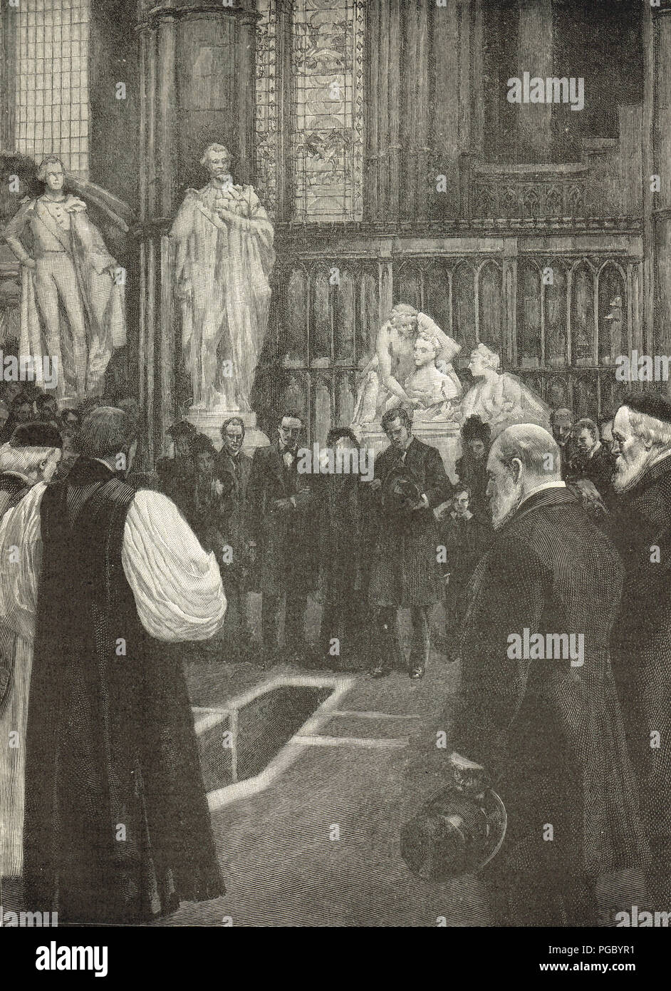Funeral of William Ewart Gladstone, British Prime Minister, Westminster Abbey, 1898 - Stock Image
