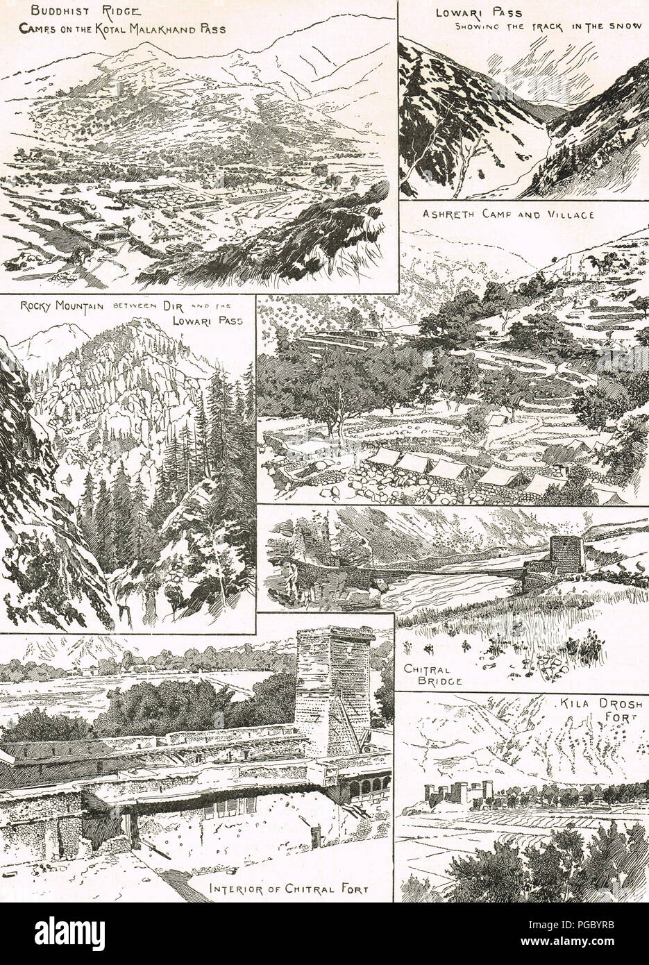 Locations during the Indian frontier wars in 1897–1898.  Buddhist ridge, Malakand pass, Lowari pass, Ashreth camp, Chitral bridge, Chitral fort, Kila Drosh fort - Stock Image