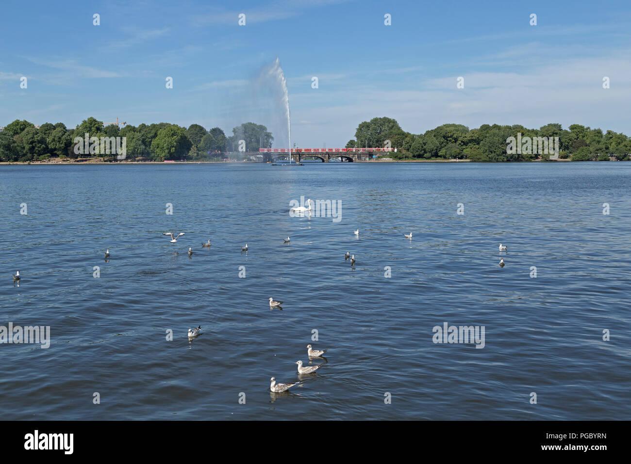 lake Binnenalster (Inner Alster), Hamburg, Germany - Stock Image