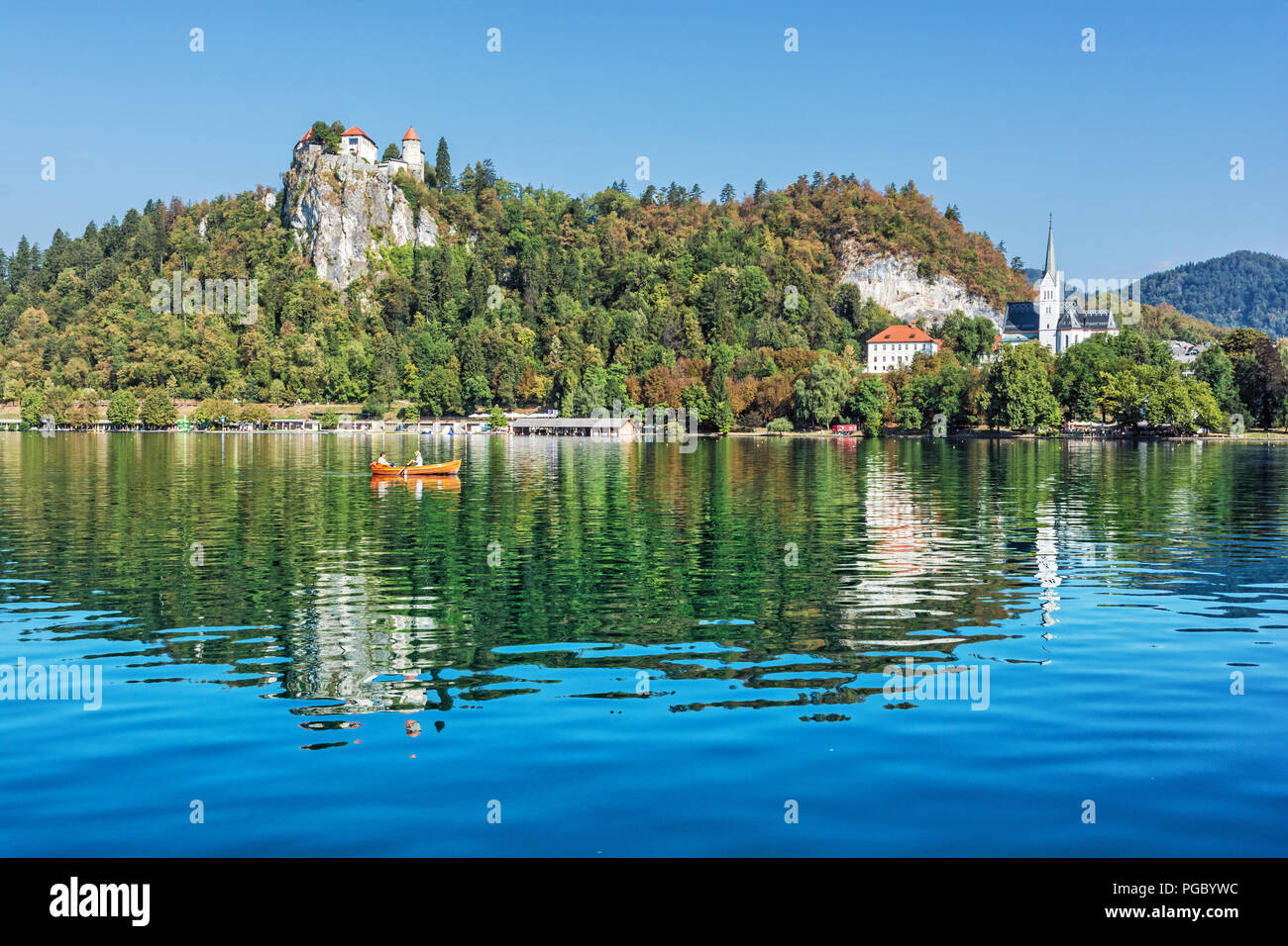Lake Bled With Castle And St Martin S Parish Church Slovenia Europe Travel Destination Summer Vacation Stock Photo Alamy