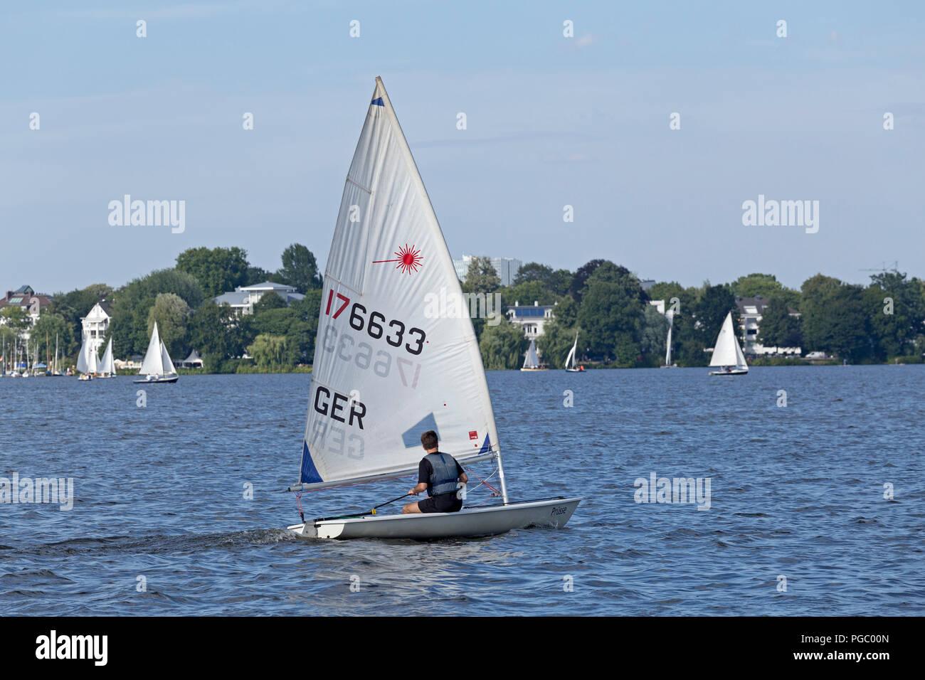 sailing boat, lake Außenalster (Outer Alster), Hamburg, Germany - Stock Image