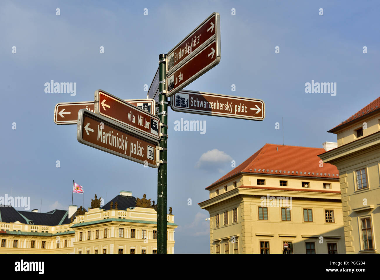 Sightseeing direction sign to points of interest Prague, Czech Republic - Stock Image