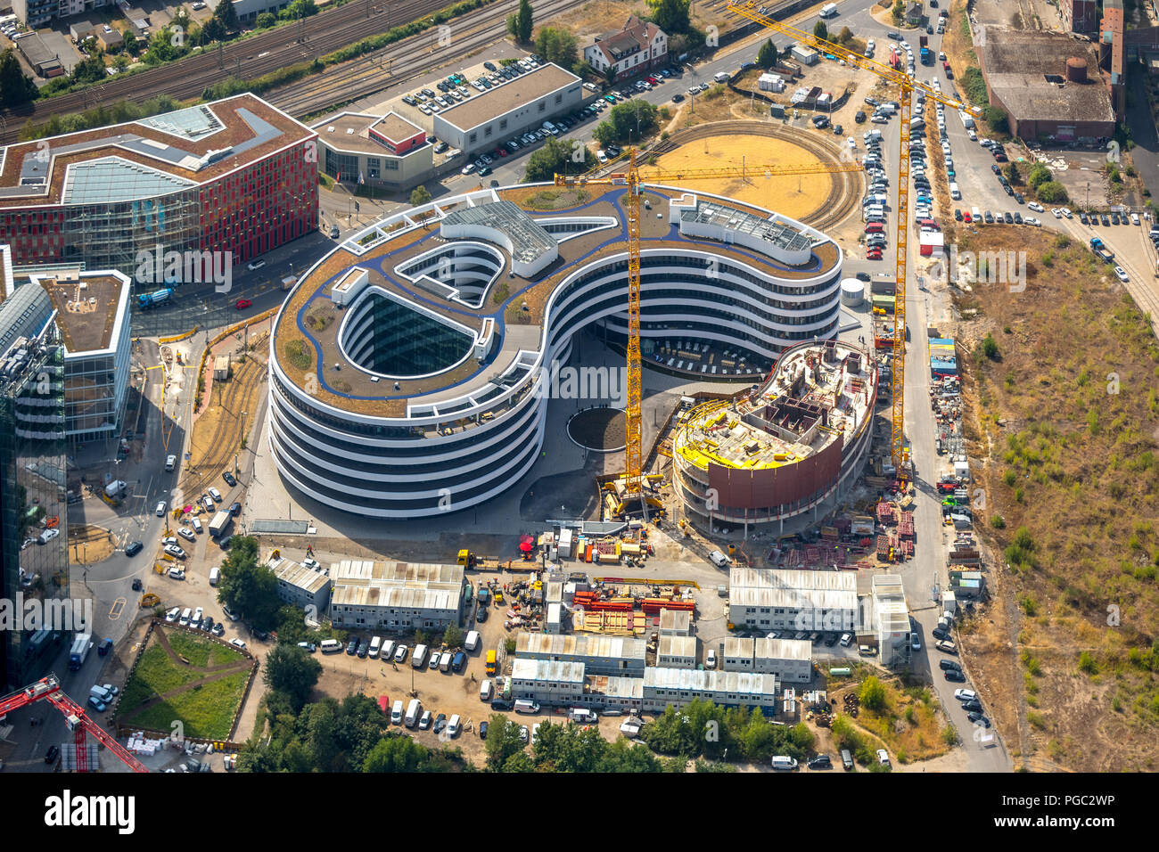 Construction for the new building Trivago-headquarters on the boiler Road in the media harbour in Düsseldorf, Hafen, Düsseldorf, Rhineland, Nordrhein- - Stock Image