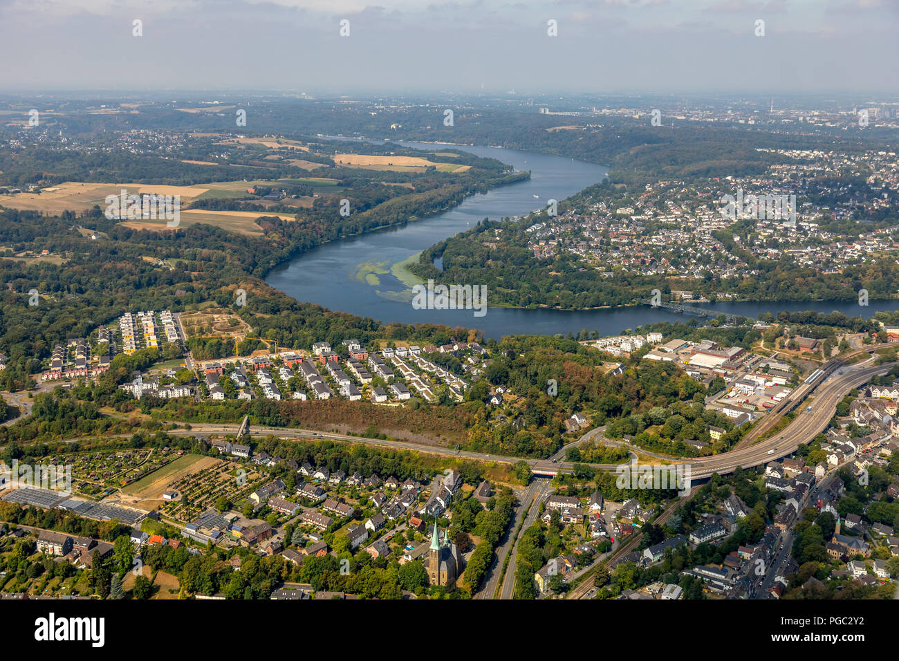 Dilldorfer height, new construction area in the bend of the Baldeneysee, Allbau Essen, Dilldorf, Essen, Ruhr Area, Nordrhein-Westfalen, Germany, DEU,  Stock Photo