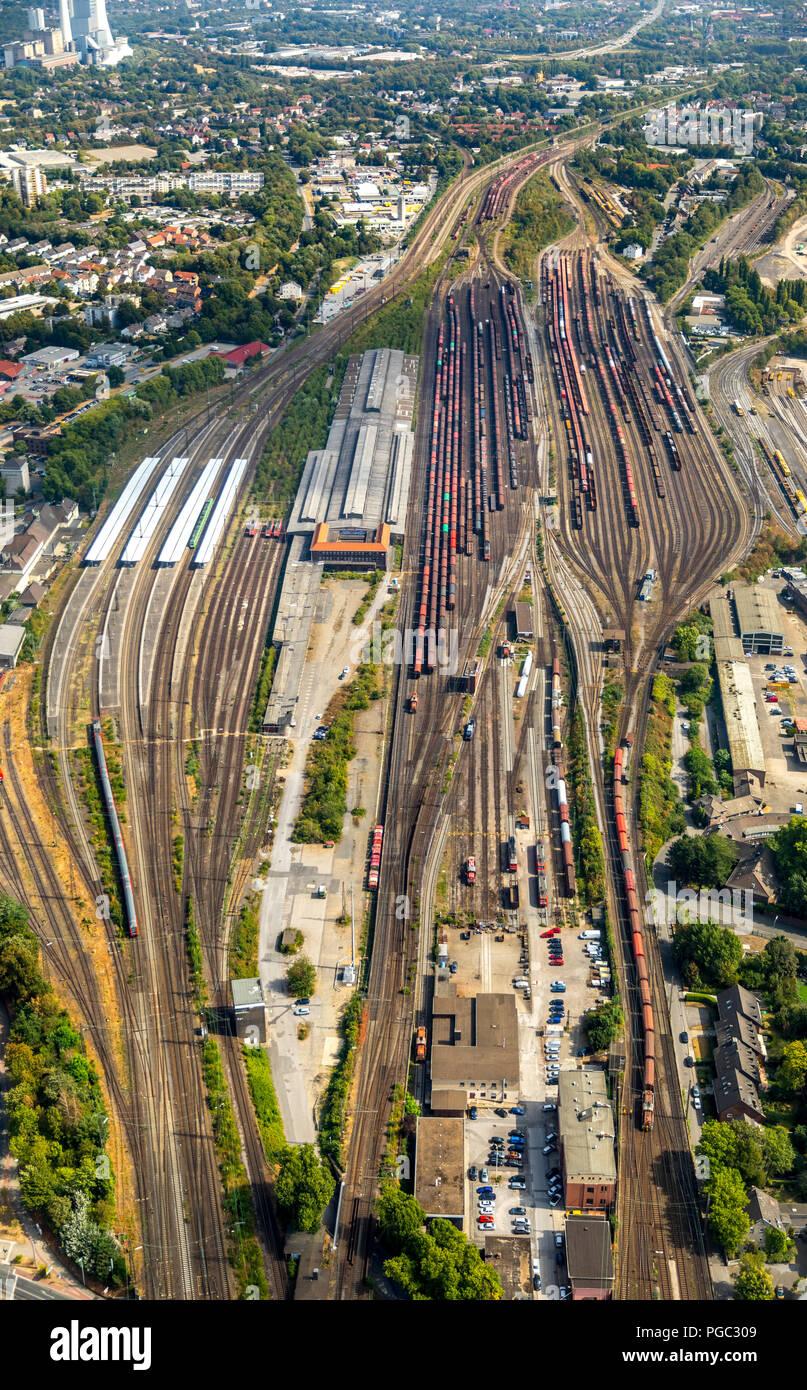 Development project former general cargo station, Hauptbahnhof, railway tracks, railways, Eickel, Herne, Ruhr, Nordrhein-Westfalen, Germany, DEU, Euro - Stock Image