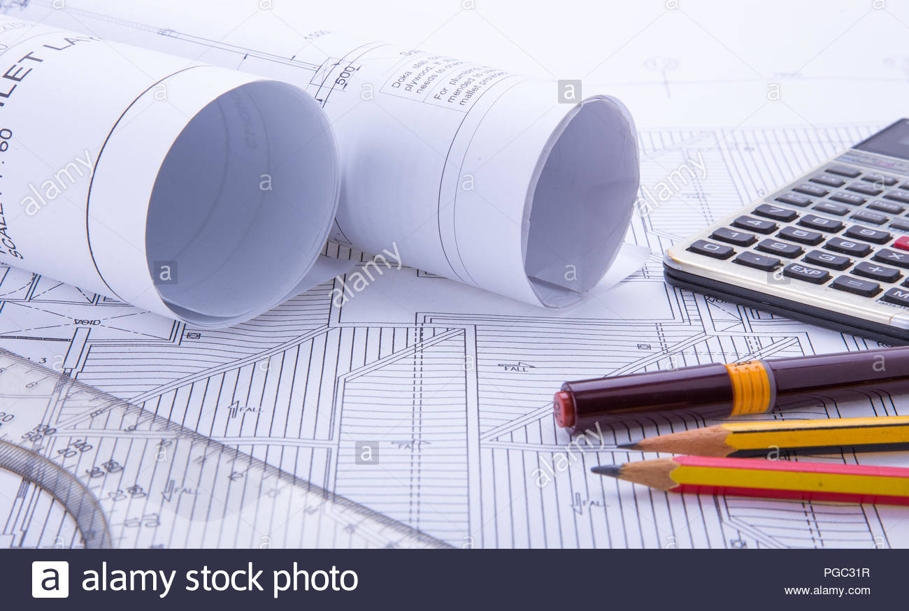 Concept of drawing. Blueprints and drafting tools. - Stock Image