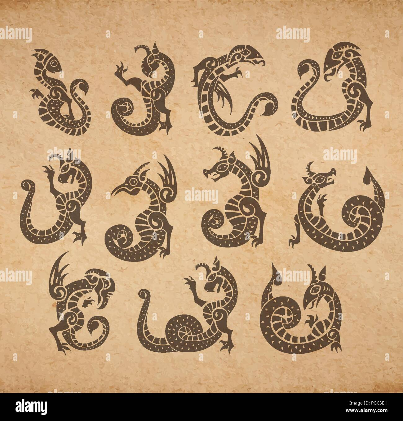 Chimeras ancient medieval set gargoyles vector collection on old parchment vintage illustration - Stock Image