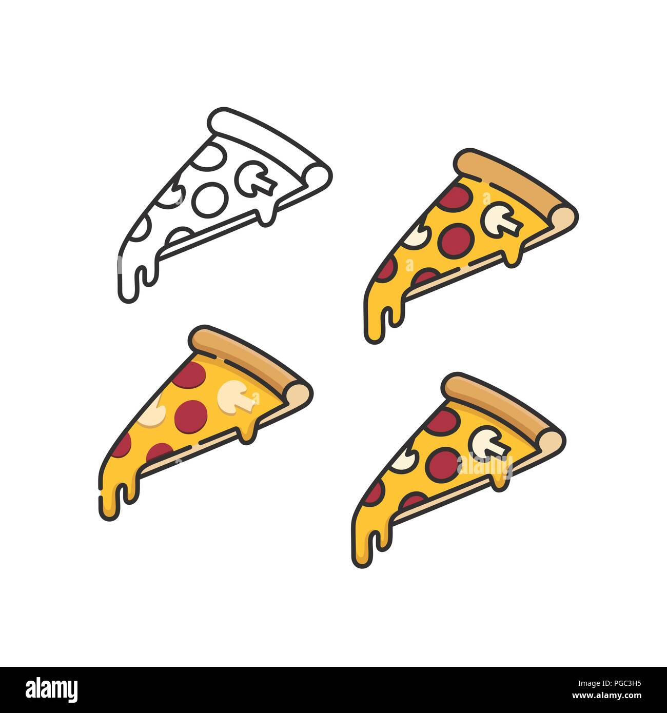 Pizza slices set with melting cheese linear isometric minimal vector illustration icons collection isolated on white Stock Vector