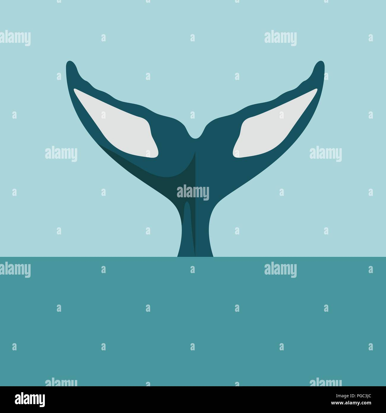 Whale tail diving in ocean or sea body part of killer or humpback whale in flat vector illustration style - Stock Image