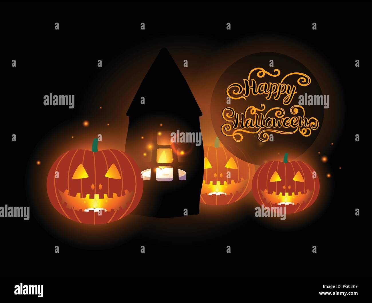 Happy Halloween Design Jack Pumpkin Lantern And Candles Glowing Vector Illustration On A Black Background Stock Vector Image Art Alamy