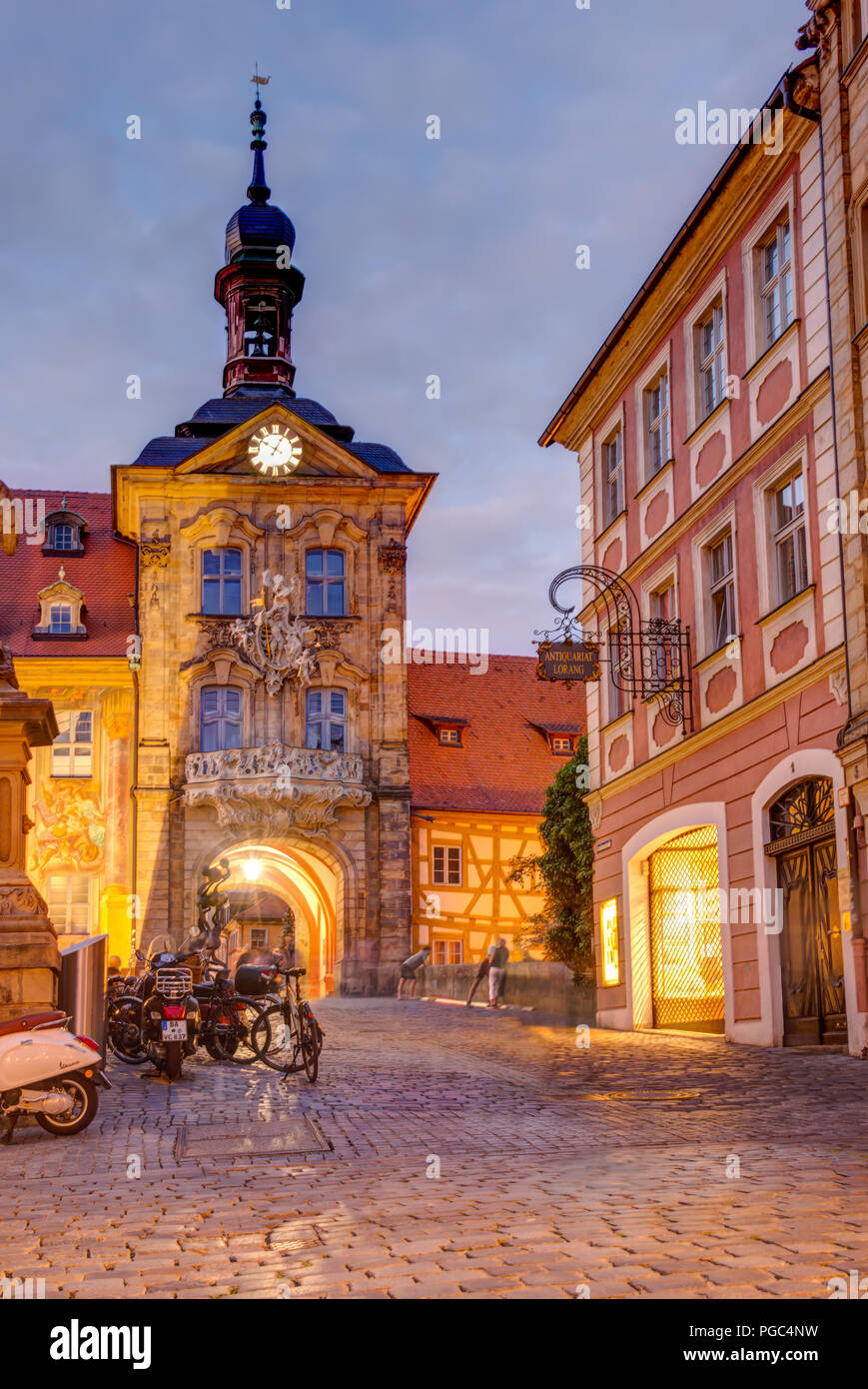 BAMBERG, GERMANY - JUNE 19: Illuminated Altes Rathaus in Bamberg, Germany on June 19, 2018. The historic town hall was built in the 14th century. - Stock Image