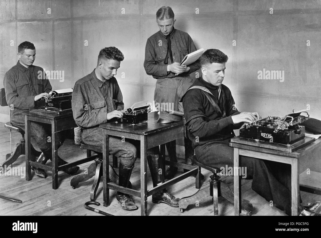 Typewriting. The blind can use any typewriter, no special devices are necessary. If the so called 'touch system' of writing, which requires those who see not to look at the keys, it is equally good for those who can not see the keyboard. Baltimore, Maryland. 1918 - Stock Image