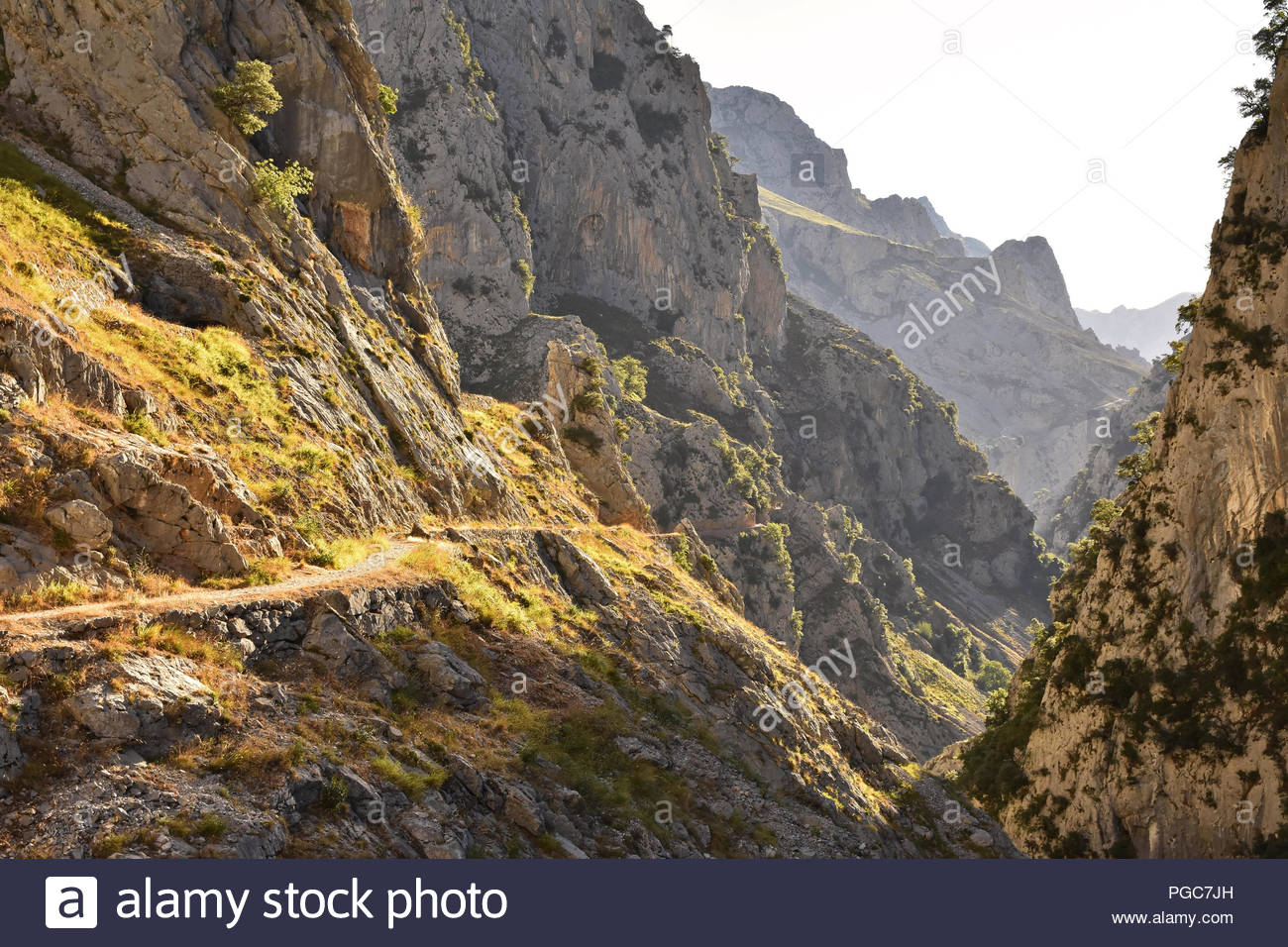 Cares Gorge route - hiking trail between towns of Poncebos and Cain in Picos de Europa National Park Cantabria Northern Spain. - Stock Image