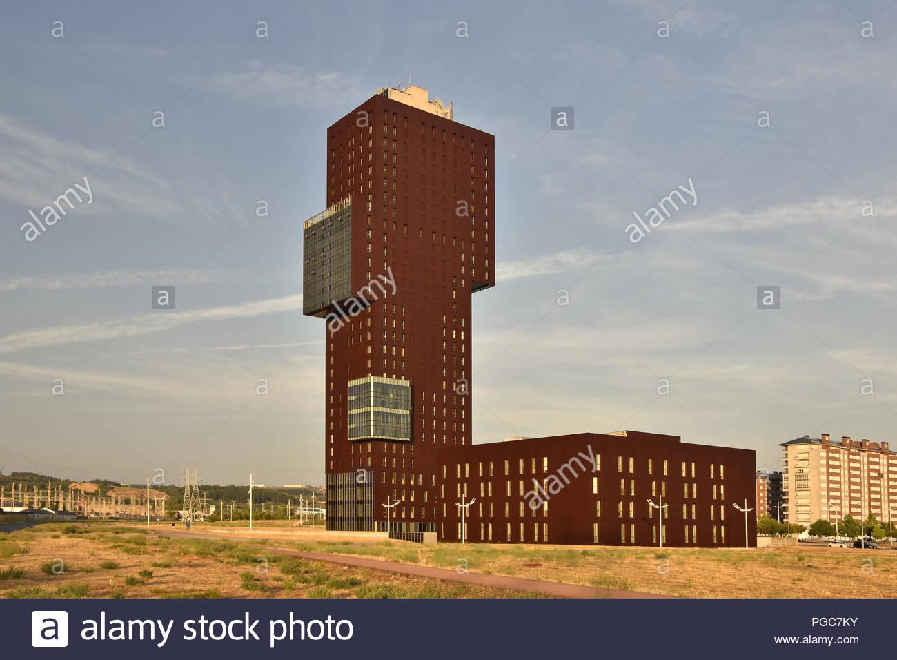 Rosaleda Tower - modern mix-used hi-rise development in Ponferrada Spain Europe. - Stock Image