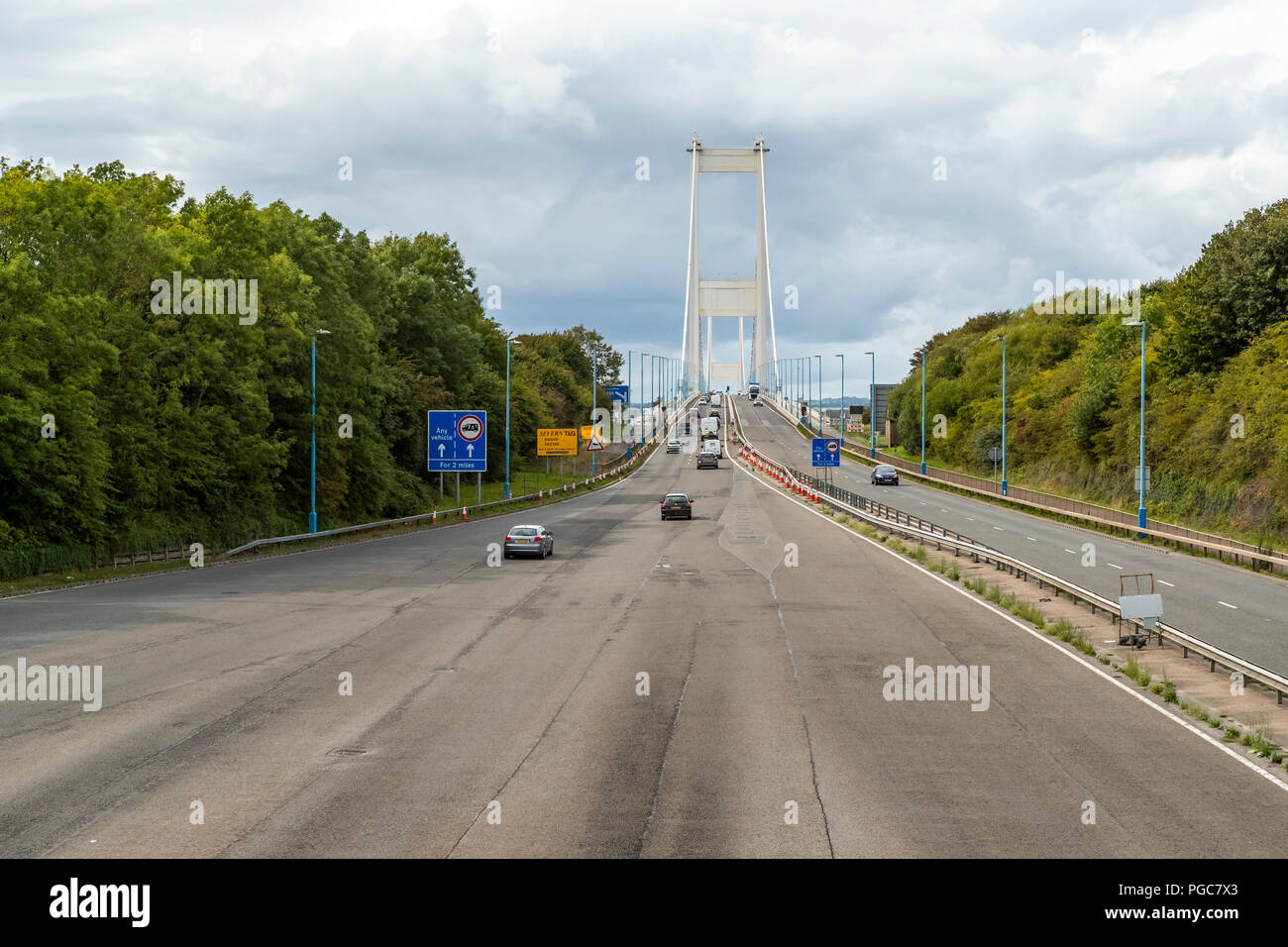 Toll plaza on the M48 Severn Crossing England/Wales border. UK Stock Photo