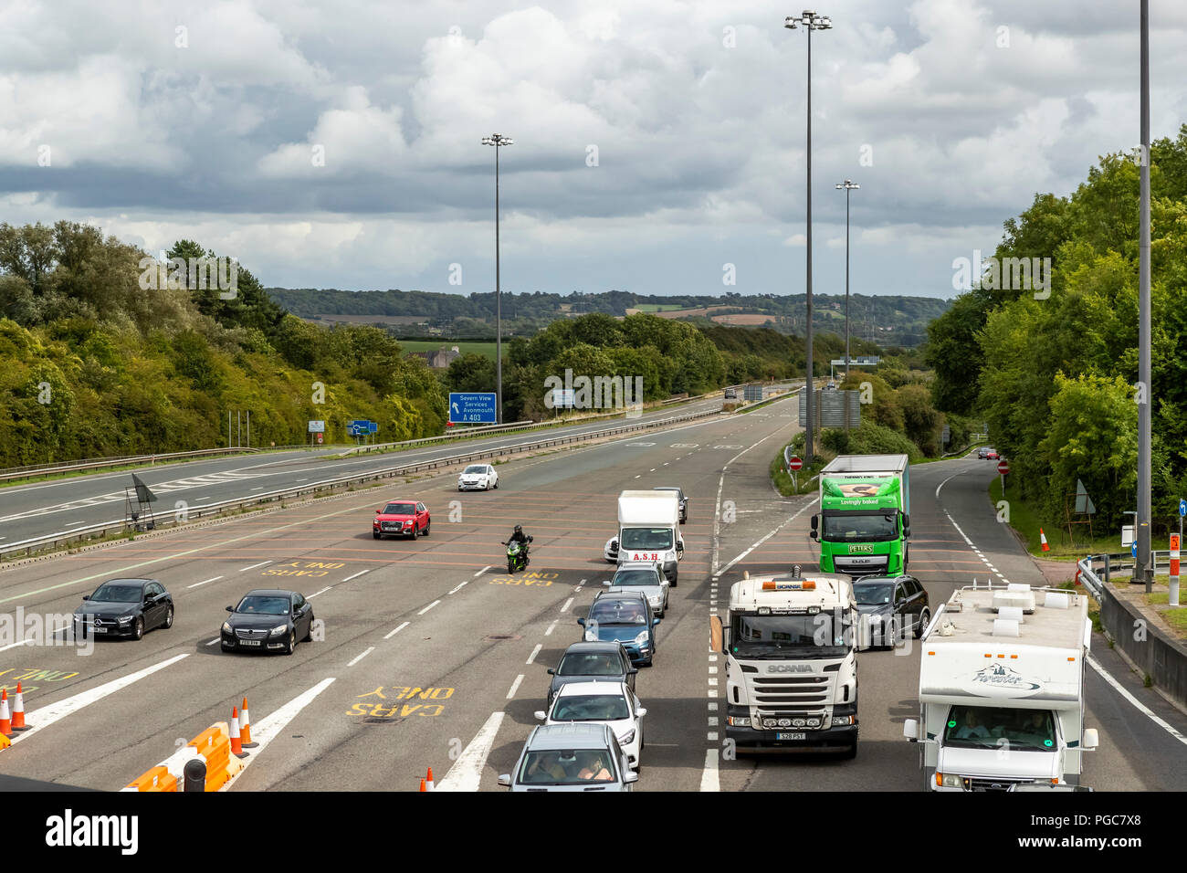 Toll plaza on the M48 Severn Crossing England/Wales border. UK - Stock Image