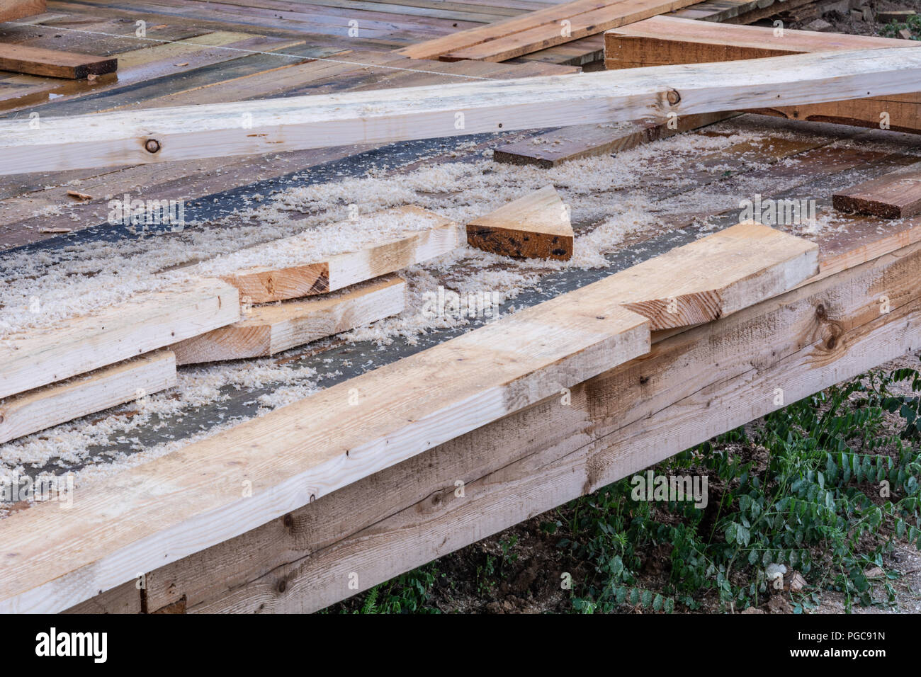 Construction Details Wooden Supporting Girder Frame House A Frame Type Stock Photo Alamy