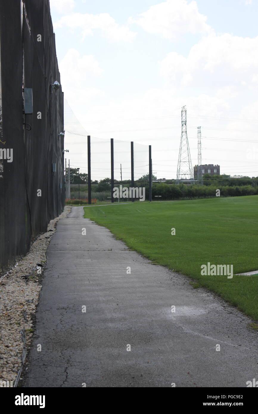 Outdoor golf driving range in Skokie, Illinois, USA. Stock Photo
