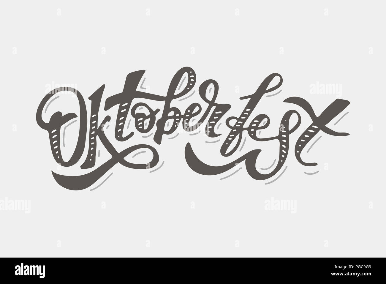 Oktoberfest lettering Calligraphy Brush Text Holiday Illustration - Stock Image