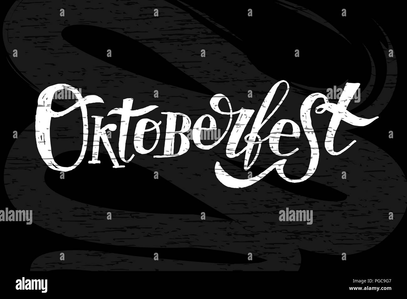 Oktoberfest lettering Calligraphy Brush Text Holiday Illustration Chalkboard - Stock Image