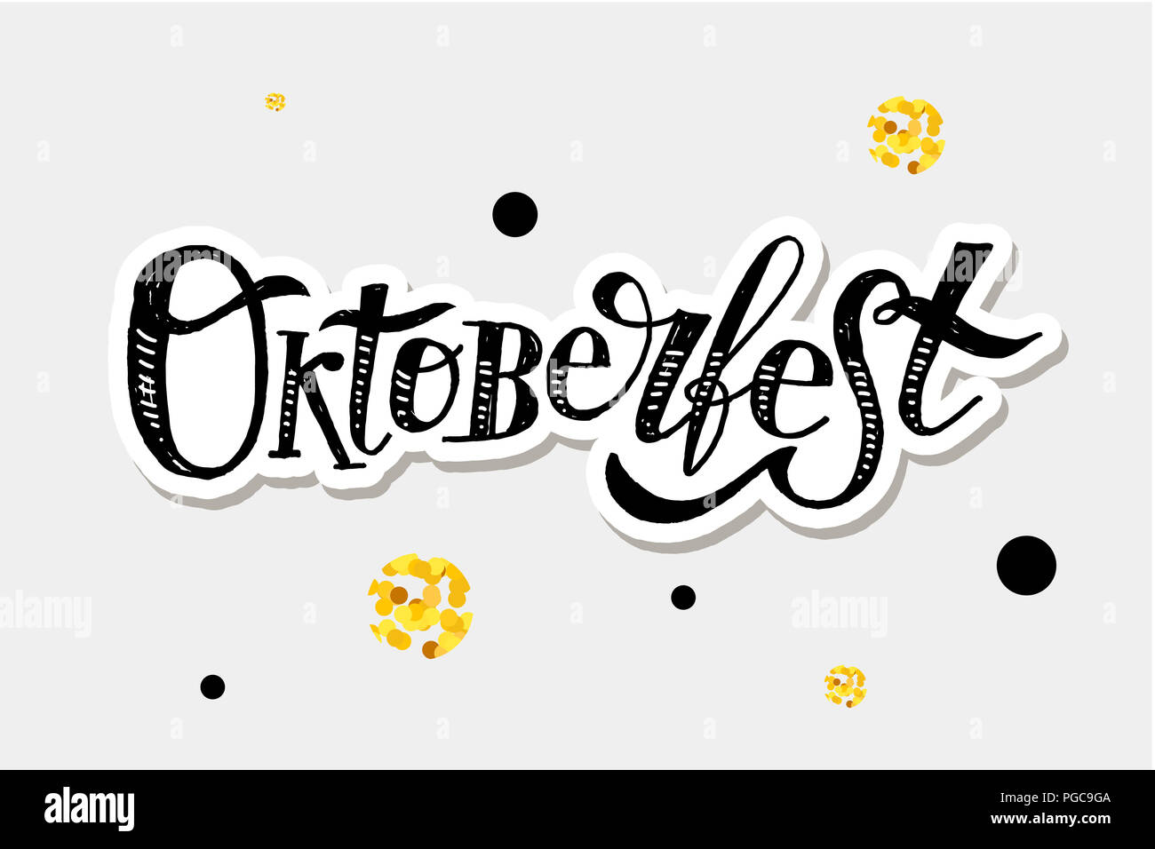 Oktoberfest lettering Calligraphy Brush Text Holiday Illustration Gold - Stock Image
