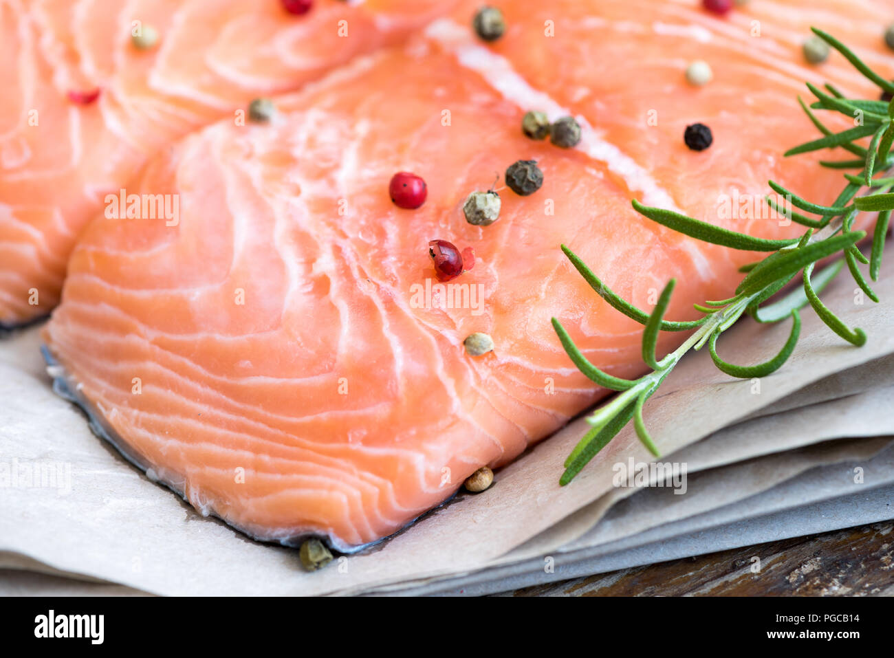 Detail Of Raw Salmon Fish Fillet With Spices And Fresh Herbs Ready