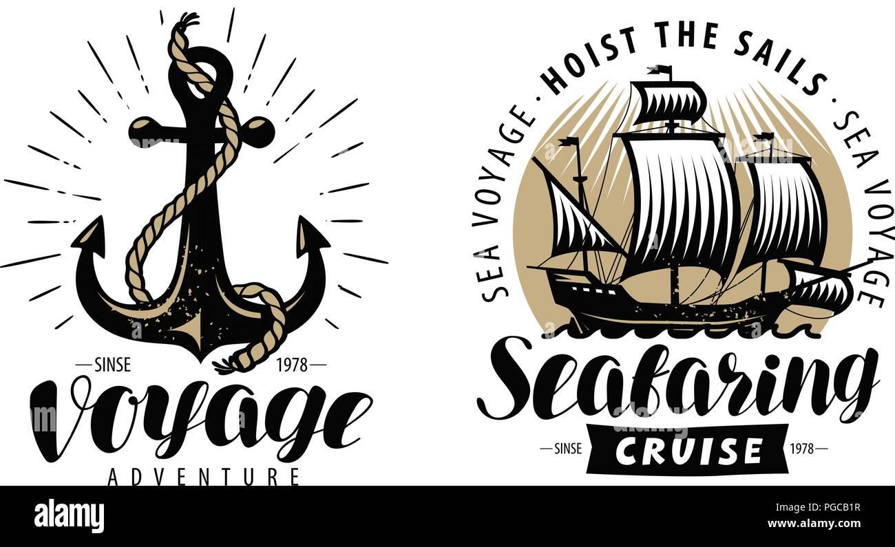 Sea cruise, seafaring logo or label. Nautical concept. Vintage vector - Stock Image