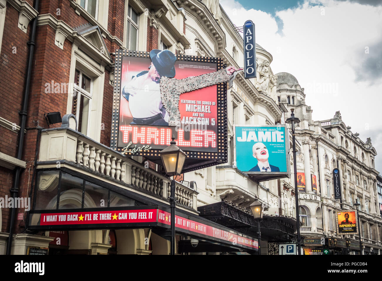 Michael Jackson's Thriller and Everybody's Talking About Jamie signage on Theatreland, Shaftesbury Avenue, London, UK - Stock Image