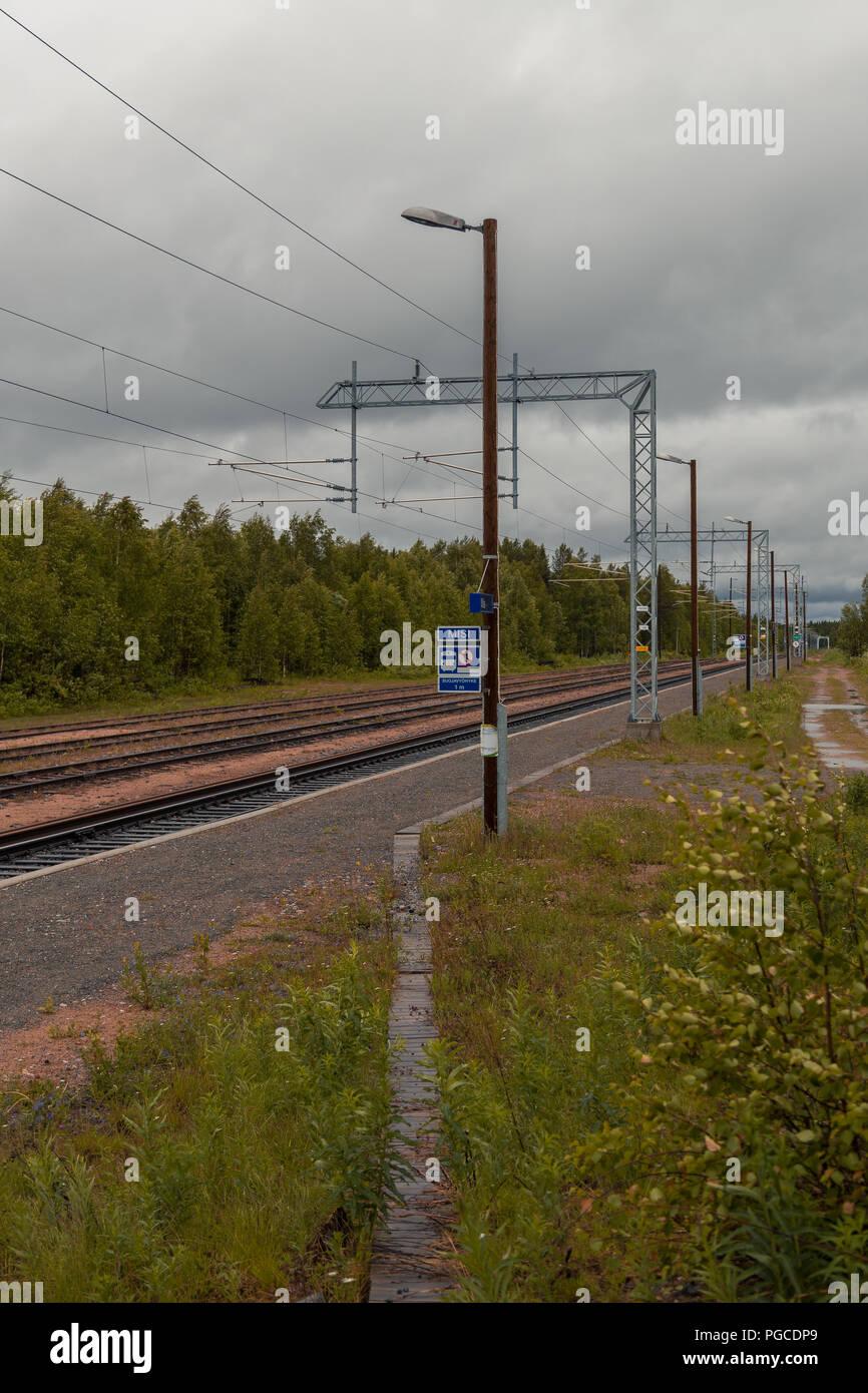 Misi Finland, small train station empty - Stock Image