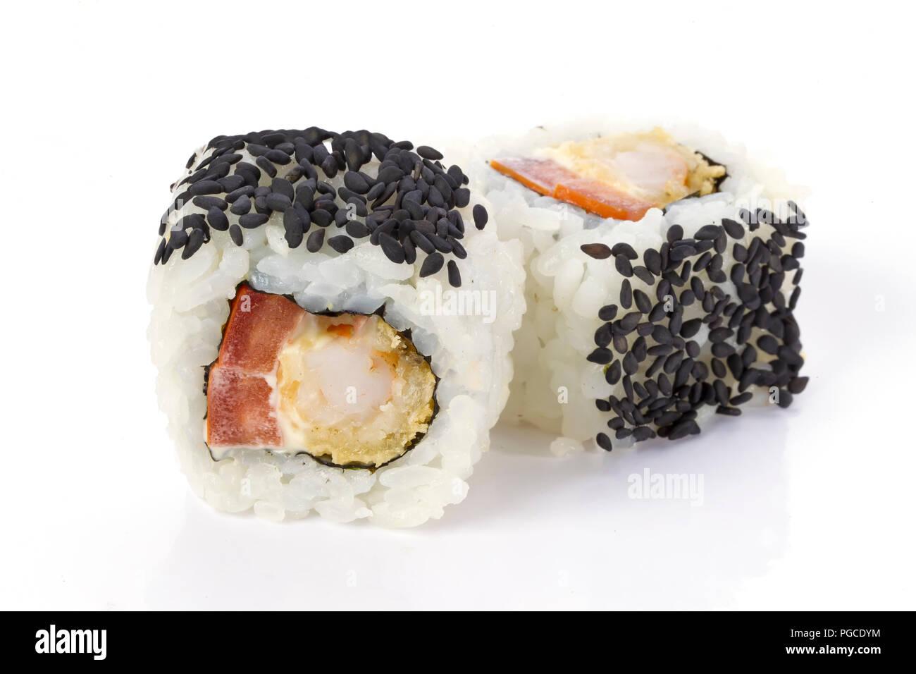 Sushi Rolls Japanese Food Isolated On White Background Menu