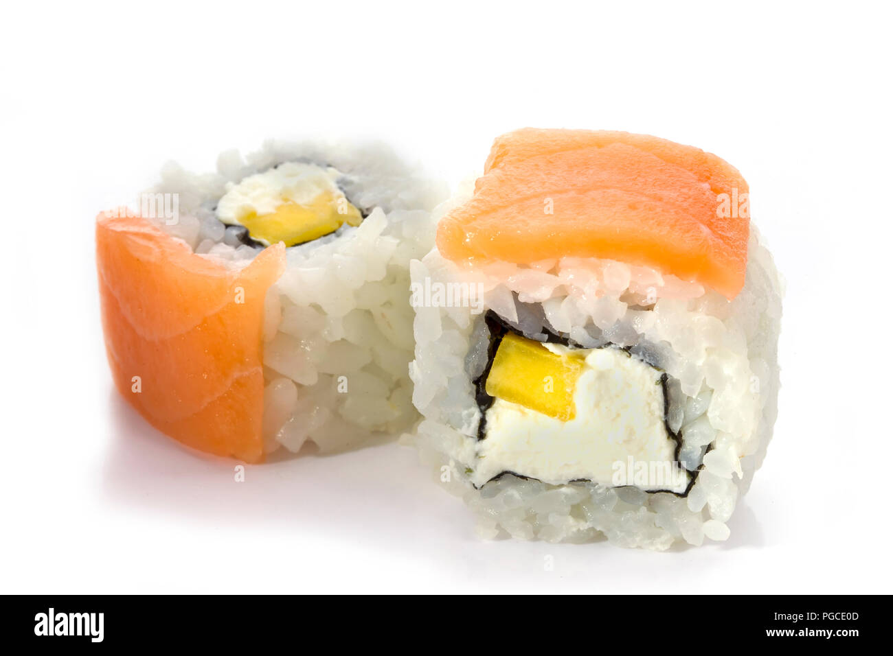 Sushi Rolls Japanese Food Isolated On White Background Menu Of The